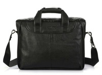 FREE SHIP-New style Men's Black100% Real Leather Shoulder Bag messenger bag  Fashion  Bag Tote bag  Leisure Easy Bag B10023