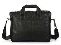FREE SHIP-New style Men's Black100% Real Leather Shoulder Bag messenger bag  Fashion  Bag Tote bag  Leisure Easy Bag B10023