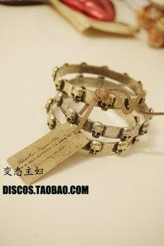 Skull head.antique silver.leather cord bracelet