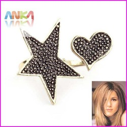 HOT!free shipping Auction Women Vintage Cute Star Shape Rhinestone double finger Ring #88902(China (Mainland))