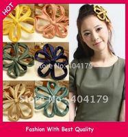 Freeshipping wholesale fashion fabric flower handmade headband hairband with gems 13cm 12pc/lot