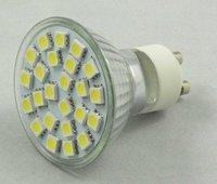 24pcs 5050 SMD led spotlight adopt high brightness LED, lumens: 340lm;GU10 base in glass housing