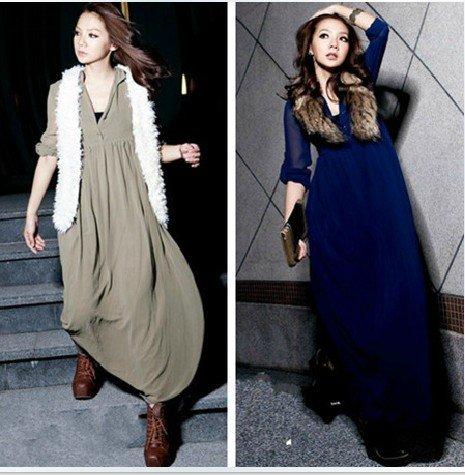 Long Sleeve Backless Dress on Chiffon Dress Women S Long Sleeve Maxi Dress Spring V Neck Long