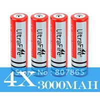 4x High Capacity Ultrafire 18650 3.7v 3000mAh Battery Free Shipping