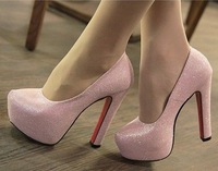 Free shipping HOT fashion women blingbling shoes high-heeled Grey & Pink pumps #HS1895-7