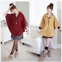 Free shipping 2012 spring ladies' fashion cape type Coat ladies' Casual Outwear with hat 4 color