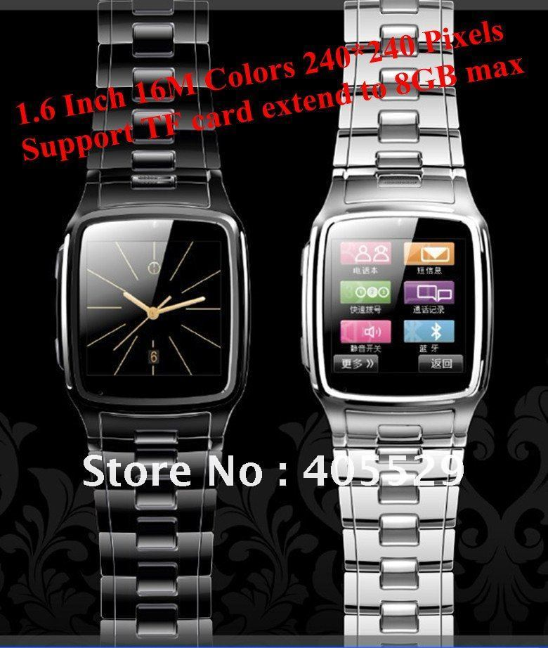 Fashion Watch Phone 1.6 Inch First Stainless16M Pixels Support TF card extend to 8GB max watch cell phone Free shipping!!!(Hong Kong)