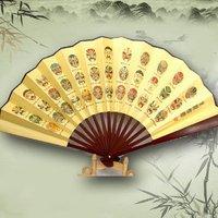 10pcs/lot, spun silk folding hand fan full of chinese culture ,art handicraft bamboo fan for decoration,souvenir,gift