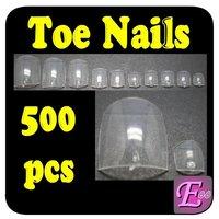 500pcs Size 0-9 Clear French Acrylic UV Gel Fake False Nail Art  Toe Tips Free Shipping Wholesale