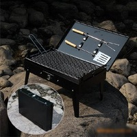 """Promotional""  portable charcoal bbq grill/ outdoor barbeque grill/ present 2 barbecue tools, 1pcs free shipping"