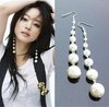 E0556 Elegant Simple and Easy Pearl Long Dangle Earrings Beads New B