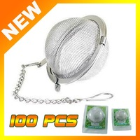 100pcs Stainless Steel Tea Pot Infuser Sphere Mesh Strainer Ball 6cm