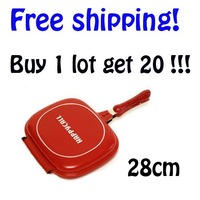 "20pcs/lot happy call pan, happy call double fry pan with free gift, free shipping to Singapore ""DISCOUNT"""