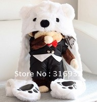 J4 Polar Bear Mascot Fancy Costume Fashion Plush winter animal Hat scarf Gloves free shipping