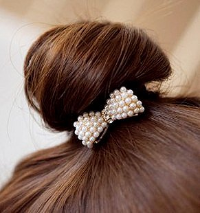 Fashion Pearl Bow Elastic Hair Bands Hair Accessories 20 Pcs/lot Free Shipping