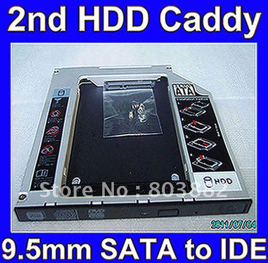 2nd SATA to IDE HDD Hard Drive caddy adapter for Toshiba HP Dell Acer Gateway Laptop(China (Mainland))