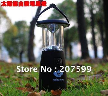 Free shipping Retail Solar camping light+6 Super bright LEDS+solar & hand crank lantern