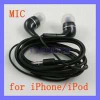 Black in-ear Earphone for iPhone 4 4S iPod with Mic