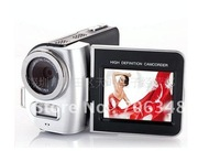 "2pcs/lot   DV-T8 Digital Camcorder 4X Zoom 2.4""LCD with 270 degree rotation HDTV 720P Camera+Li-battery"