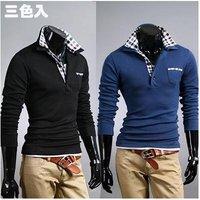 Мужская футболка 2012 New fashion Men's slim fit T-Shirts Casual Stylish Dress Shirt, and retail, 2 colors, M-XXL, T2