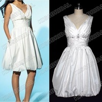 Hot Sale V-neck Beaded Sleeveless Knee Length A-line Bridesmaid Dresses Homecoming Gown Zip Back