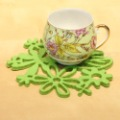 Free shipping promotional 10 pcs/lot 13cm(diameter) green non-woven fabric cutout pattern cup pad/ table coaster