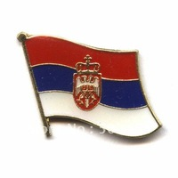 350pcs/lot, free shipping  Serbia country  flag lapel pins,metal art pin,holiday giveaway gifts