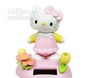 Flap Solar Power Car decorative hello kitty/ Solar power stand-up kitty for Car/Home Decoration Flip(China (Mainland))