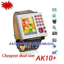 Free shipping 1.3 inch touch screen Dual SIM Camera Bluetooth wrist watch mobile phone AK10+(China (Mainland))
