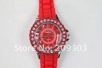 25pcs/lot Free shipping whoelsale Fashion silicone Diamond quartz wristwatch Bracelet jewelry rhinestone watch,high quality
