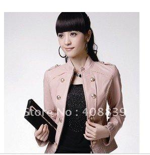 PU leather jacket women's 2011 Hitz Ladies Leather Motorcycle Jacket female short slim leisure jacket