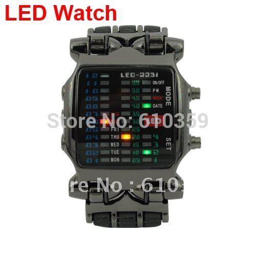 TVG Brand Fashion Matrix Super Cool 21 Colorful LED Digital Binary Wrist Watches Military Mens Wristwatches - Black Case(China (Mainland))