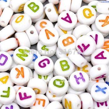 Горячая распродажа продвижение бросился бесплатная доставка 500 смешанный алфавит / письмо акриловые прокладка бусины 7 мм ( w00832 ) а . а .