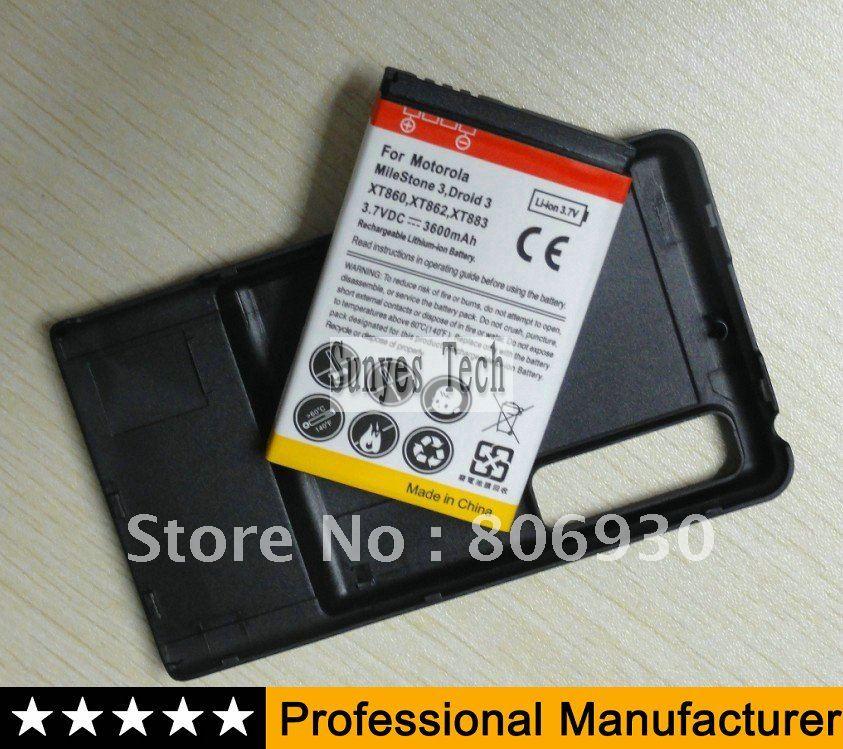 For Motorola Droid 3 Extended battery + back door For Motorola droid 3 XT862 3600mAh 100pcs / lot(China (Mainland))