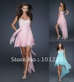 Short Hi Low Prom Dresses Sequin Embellished Bodice Evening Dresses Strapless Sweetheart Chiffon Party Dresses