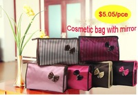 Cute cosmetic bag,make up bag,1 lot wholesale,with a mirror inside,multy color for choosing,free shipping!TM-010