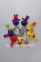 Promotion 100PCS/LOT  Lovely Cute Voodoo Doll Keyring Keychain for Cell Phone Handmade String Send Randomly Best Decoration