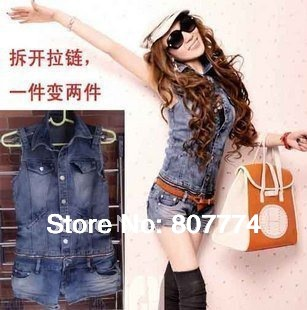 S-XL 2014 Freeshipping Women Plus Large Summer Denim Jumpsuit Shorts Vest+Short Detachable Overall Casual Jeans Romper #5001