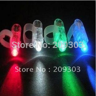 300pcs/lot 4x Colors LED laser finger light beams party Light-up finger ring laser lights with opp bag free shipping(China (Mainland))