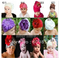 TOP BABY hat lovely baby Christmas hat ,baby colorful big flowers cap Cotton Hat (50pcs)