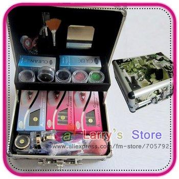 Free Shipping New Pro Hight Quality Hot Style False Eyelash Eye Lash Extension Kit Glue Gift Full Set With Case Makeup Tool