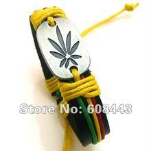 Wholesale Genuine Leather Metal Unisex Men's & Lady's Love Fashion For Women Bracelet Bangle lucky leaf men