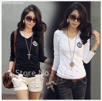 Free shipping 2012 New arrival ladie's fashion t-shirts slim style women's long sleeve Base shirt white and Black 2 color