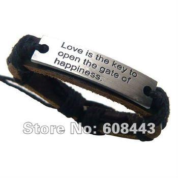 Br033 оптовая продажа ручной работы любовь из натуральной кожи металл мужская мода ...