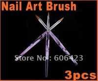 Hot selling Cheapest price 3pcs UV Gel Acrylic Nail Art Brush,Dropshipping Dotting Dot Pen Drawing