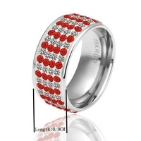 BM047  wholesale luxury 18K white Gold plated red Crystal round ring