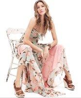 1/lot Women's Clothing lady harness Dresses Bohemia style flouncing chiffon  big swing  sexy goddess 4size  for 160-185cm lady