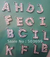 cy2172 Free Shipping 100pcs zinc alloy metal  mixed rhinestone letter charms metal enamel pendant