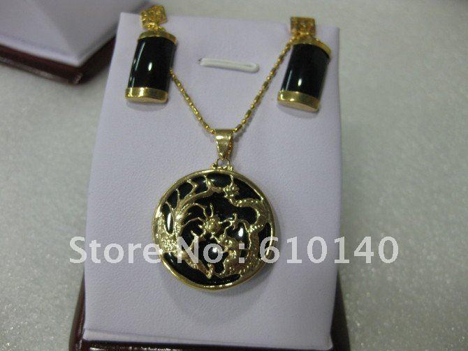 5PCS Jade Jewellery necklace pendant earring set SAM_1924(China (Mainland))