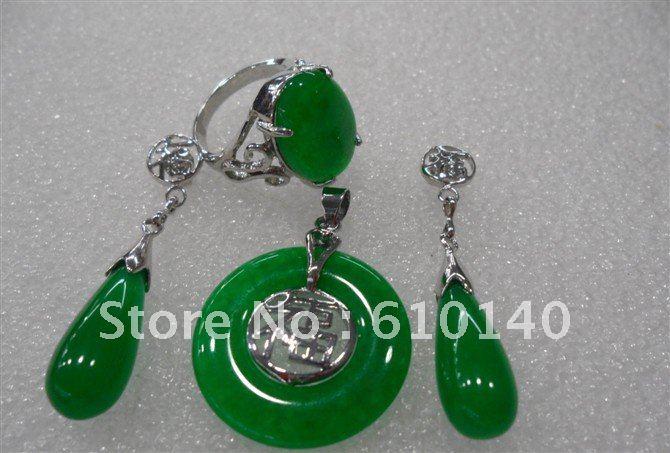3PCS jade Jewellery Pendant Necklace Earring Ring8# set SAM_1932(China (Mainland))